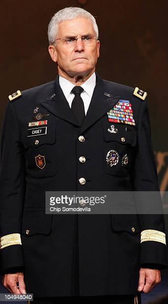 Army Chief of Staff Gen George Casey Jr participates in a ceremony to posthumously induct Medal of Honor recipient US Army Staff Sgt Robert Miller to...