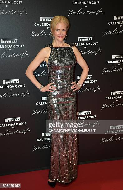 USAustralian actress Nicole Kidman poses during a photocall ahead of a gala dinner held for the international launch of the 2017 Pirelli calendar at...