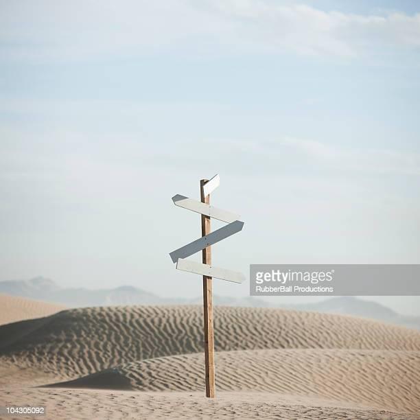 USA,Utah,Little Sahara,signpost in desert