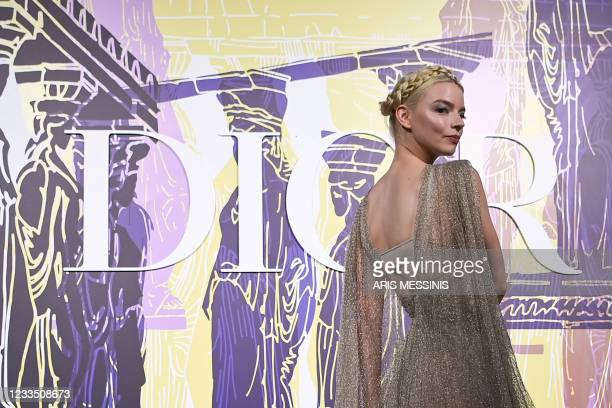 Born Argentine-British actress and model Anya Taylor-Joy poses during the photocall before the 2022 Dior Croisiere fashion show, at the Panathenaic...