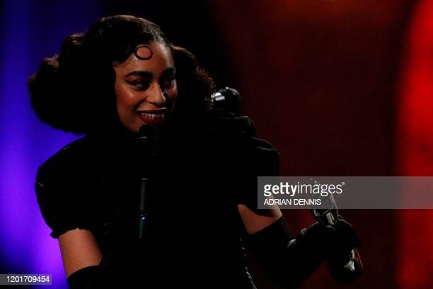 USborn British singer-songwriter Celeste collects her Rising Star award during the BRIT Awards 2020 ceremony and live show in London on February 18,...