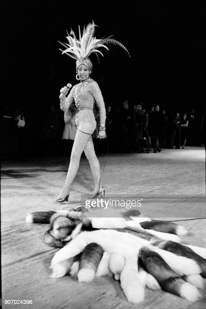 USborn dancer and singer Josephine Baker performs during a rehearsal of her show in Versailles on November 27 1973 / AFP PHOTO /