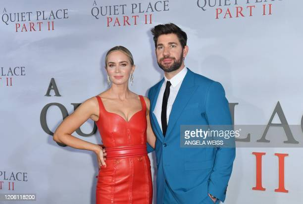 """British actress Emily Blunt and husband US actor John Krasinski attend Paramount Pictures' """"A Quiet Place Part II"""" world premiere at Rose Theater,..."""