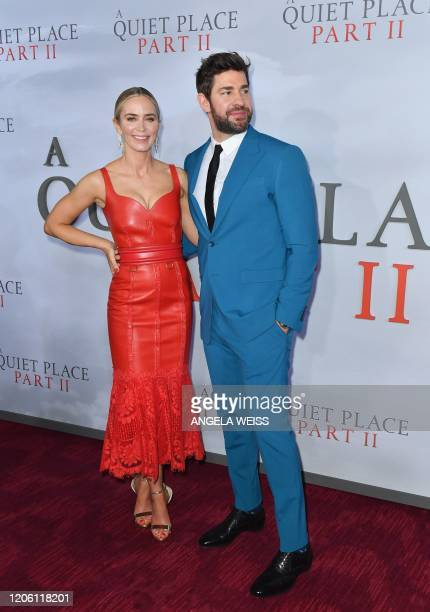 US/British actress Emily Blunt and husband US actor John Krasinski attend Paramount Pictures' A Quiet Place Part II world premiere at Rose Theater...