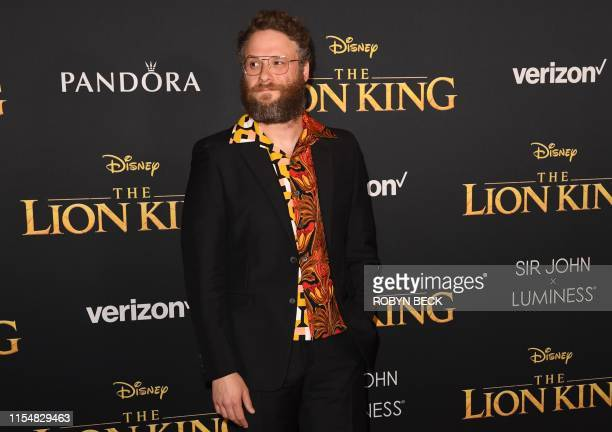 "Canadian actor Seth Rogen arrives for the world premiere of Disney's ""The Lion King"" at the Dolby theatre on July 9, 2019 in Hollywood."