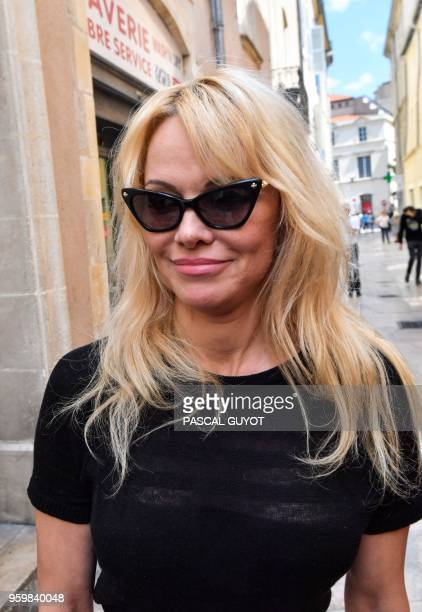 USCanadian actress and animal protection activist Pamela Anderson leaves on May 18 2018 in Nimes southern France where she came to hand over an amti...
