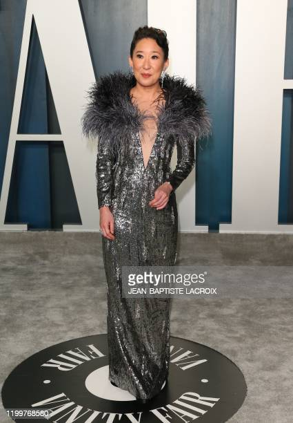 Canadian actress Sandra Oh attends the 2020 Vanity Fair Oscar Party following the 92nd Oscars at The Wallis Annenberg Center for the Performing Arts...