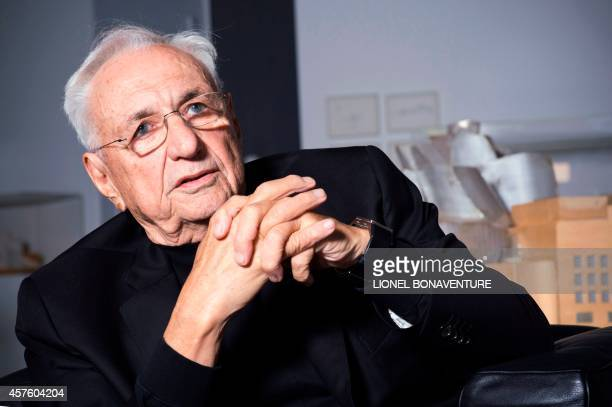 USCanadian architect Frank Gehry is seen on October 21 2014 at the Georges Pompidou Beaubourg art center in Paris AFP PHOTO / LIONEL BONAVENTURE
