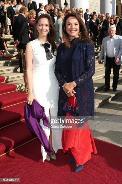 Uschi Daemmrich von Luttitz and her daughter Stephanie von Luttitz during the opening of the opera festival and premiere of 'Die Gezeichneten' at...