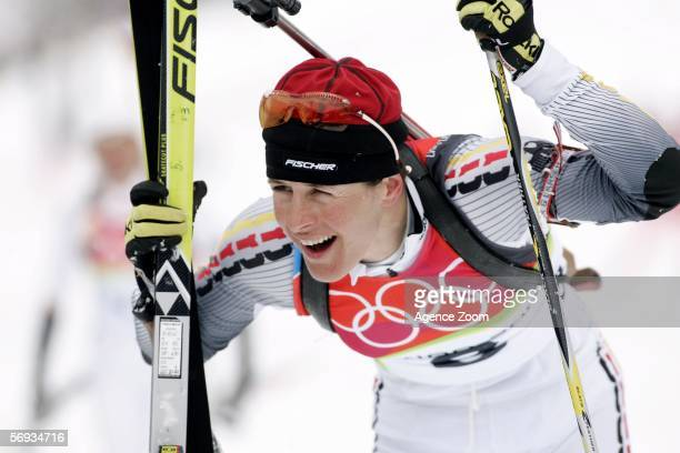 Uschi Disl of Germany celebrates winning the Silver Medal the Womens Biathlon 125km Mass Start Final on Day 15 of the 2006 Turin Winter Olympic Games...