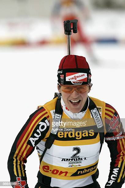 Uschi Disl of Germany competes during the IBU Biathlon World Cup Women's 125km Mass Start on January 22 2006 in Anterselva Italy