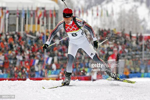 Uschi Disl of Germany competes in the Womens Biathlon 125km Mass Start Final on Day 15 of the 2006 Turin Winter Olympic Games on February 25 2006 in...