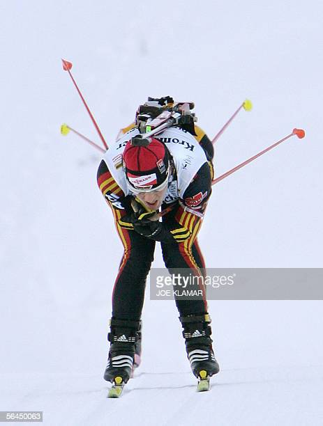 Uschi Disl of Germany competes in women's 10 km pursuit during the biathlon World cup in Osrblie on 18 December 2005 The competition was won by Anna...