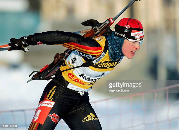 Uschi Disl of Germany competes on her way to victory in the IBU World Cup Women's Biathlon 75km Sprint event on December 2 2004 in Beitosolen Norway