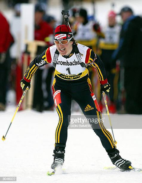 Uschi Disl of Germany leaves the start of the women's 10 km pursuit during the World Cup Biathlon 05 March in Fort Kent Maine Disl won the race with...