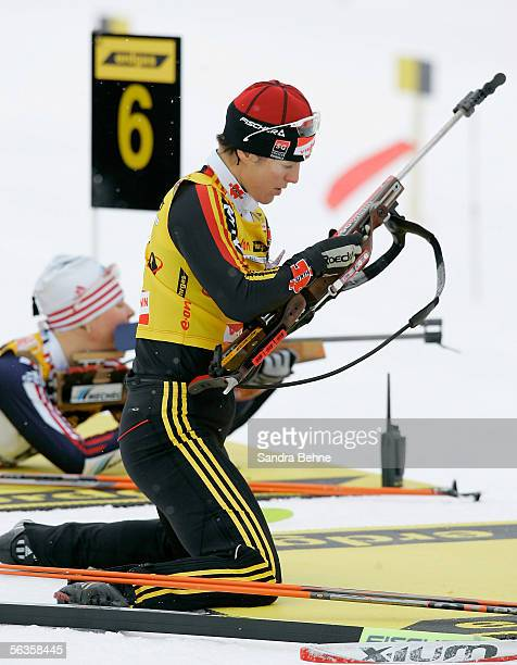 Uschi Disl of Germany prepares to shoot during the women's 15 km individual of the IBU Biathlon World Cup on December 7, 2005 in Hochfilzen, Austria.