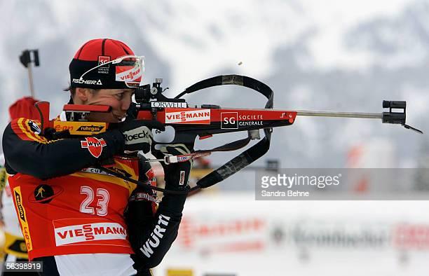 Uschi Disl of Germany shoots during the women's 75 km sprint of the IBU Biathlon World Cup on December 9 2005 in Hochfilzen Austria