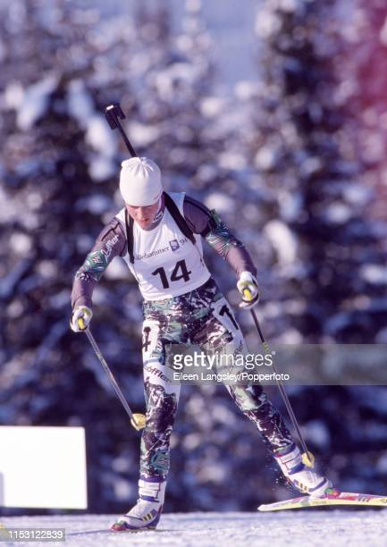 Uschi Disl representing Germany on the way to winning the bronze medal in the women's 15 kilometre individual biathlon event during the 1994 Winter...