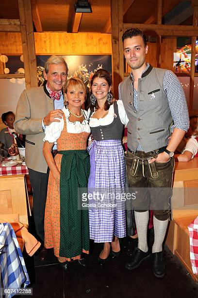 Uschi Glas and her husband Dieter Hermann and her daughter Julia Tewaag with her husband Tobias Frank during the opening of the oktoberfest 2016 at...