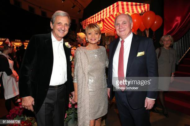 Uschi Glas and her husband Dieter Hermann and Uli Hoeness during Michael Kaefer's 60th birthday celebration at Postpalast on February 2 2018 in...