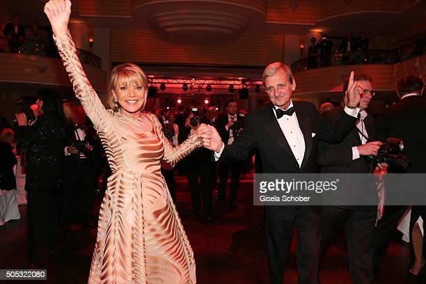 Uschi Glas and her husband Dieter Hermann dance during the German Film Ball 2016 party at Hotel Bayerischer Hof on January 16 2016 in Munich Germany