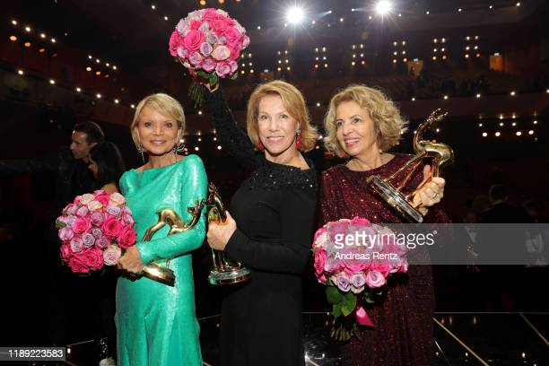 Uschi Glas Gaby Dohm and Michaela May pose with their awards during the 71st Bambi Awards show at Festspielhaus BadenBaden on November 21 2019 in...