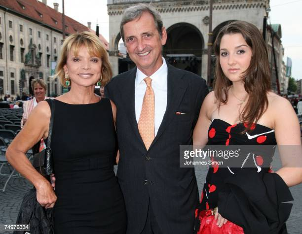 Uschi Glas her husband Dieter Hermann and his daughter Charlotte arrive for an open air concert of Chinese pianist Lang Lang together with the...