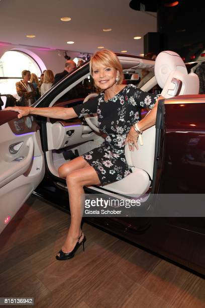 Uschi Glas sits in a car at the MercedesBenz reception at 'Klassik am Odeonsplatz' on July 15 2017 in Munich Germany
