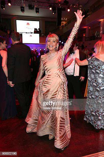 Uschi Glas wearing a beige dress by Gabriele Blachnik during the German Film Ball 2016 party at Hotel Bayerischer Hof on January 16 2016 in Munich...