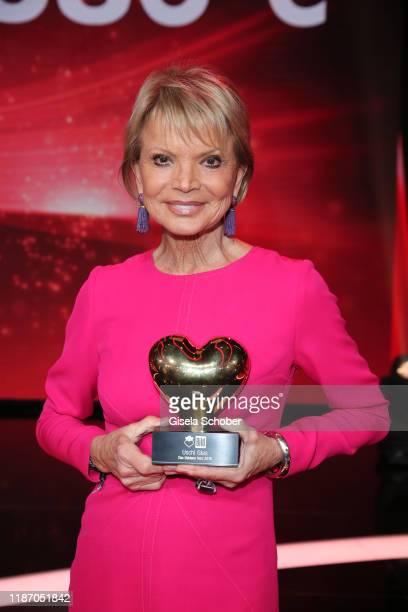 "Uschi Glas with award ""golden heart"" during the Ein Herz Fuer Kinder Gala show at Studio Berlin Adlershof on December 7, 2019 in Berlin, Germany."
