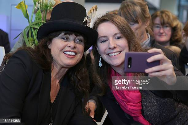 Uschi Obermaier former model jewelry designer attends the Frankfurt Book Fair on October 12 2013 in Frankfurt am Main Germany This year's fair will...
