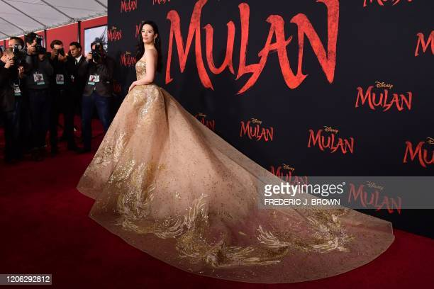 "Chinese actress Yifei Liu attends the world premiere of Disney's ""Mulan"" at the Dolby Theatre in Hollywood on March 9, 2020."
