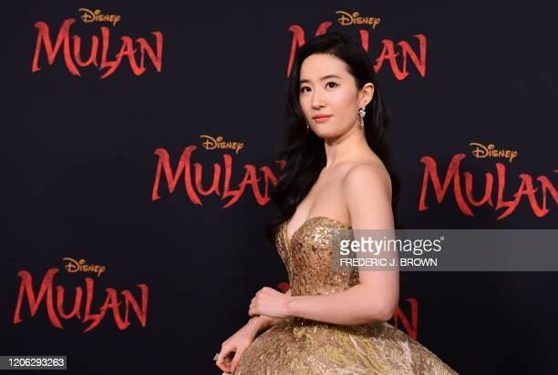 """Chinese actress Yifei Liu attends the world premiere of Disney's """"Mulan"""" at the Dolby Theatre in Hollywood on March 9, 2020."""