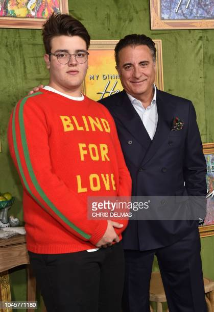 US/Cuban actor Andy Garcia and his son Andres GarciaLorido arrive for the HBO premiere of My Dinner With Herve on October 4 2018 at the Paramount...