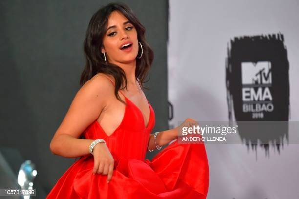 USCuban singer Camila Cabello poses backstage during the MTV Europe Music Awards at the Bizkaia Arena in the northern Spanish city of Bilbao on...