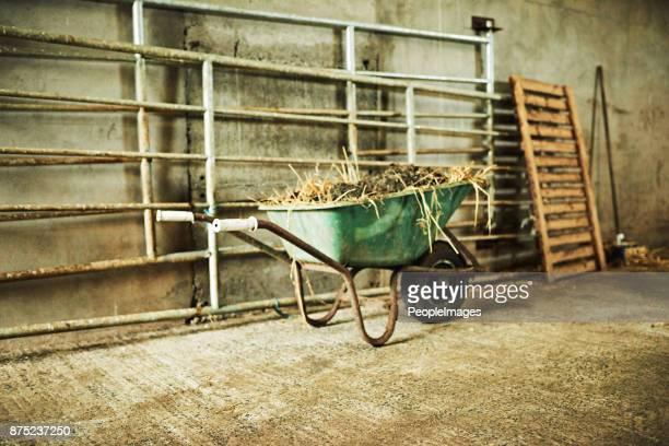 verwenden sie eine schubkarre zum transport dinge rund um den bauernhof - landwirtschaftliche tätigkeit stock-fotos und bilder