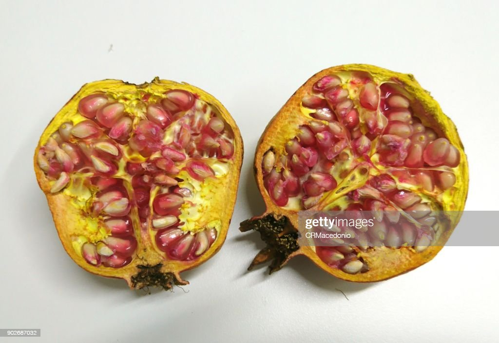 Use pomegranate seeds for luck. : Stock Photo