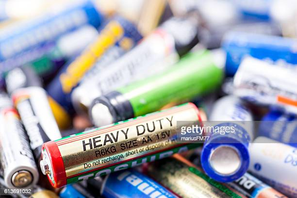 used batteries - duracell stock pictures, royalty-free photos & images