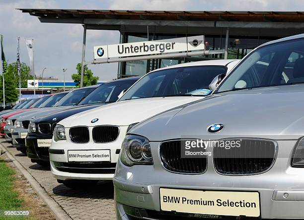 Used Bayerische Motoren Werke 1 series cars are seen at a BMW car dealership in Rosenheim Germany on Tuesday May 18 2010 Bayerische Motoren Werke AG...