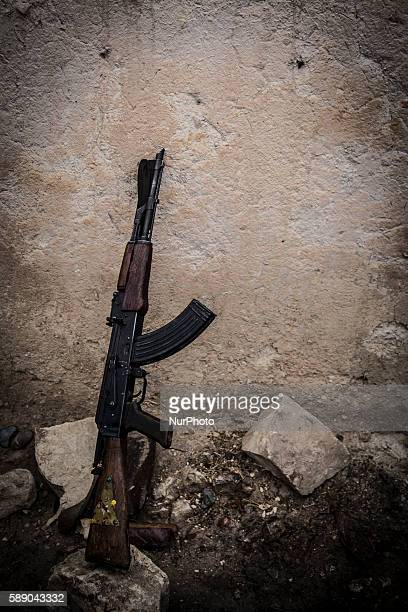 AK47 used by Syrian People's Protection Units members in frontline of Raqqa during a fight against Daesh on January 1 2016