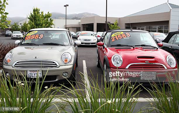 Used cars are displayed on a sales lot on June 9 2011 in San Rafael California As the economy continues to falter and Japan recovers from the...