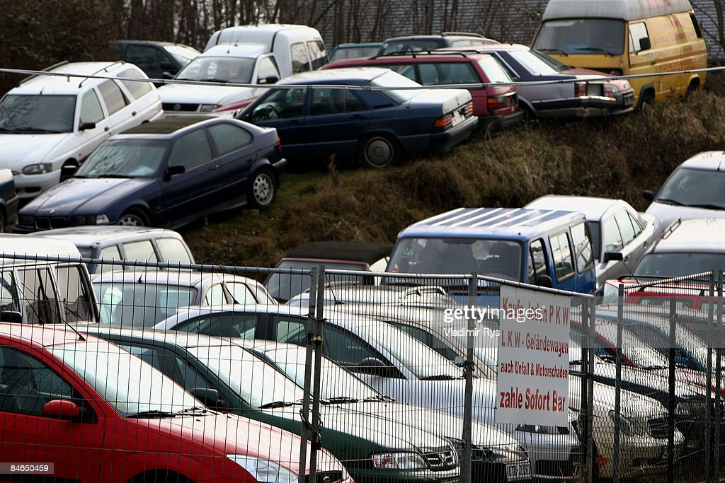 e743de6178 Used cars sit in a second-hand car dealer lot on February 4