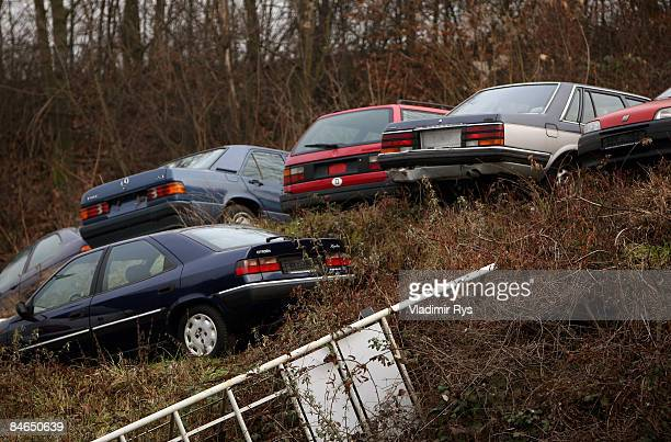 Used cars sit in a secondhand car dealer lot on February 4 2009 in Cologne Germany Germany western Europe's largest auto market saw a 14 percent drop...