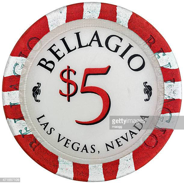 Used chip of five dollars from the Bellagio Casino