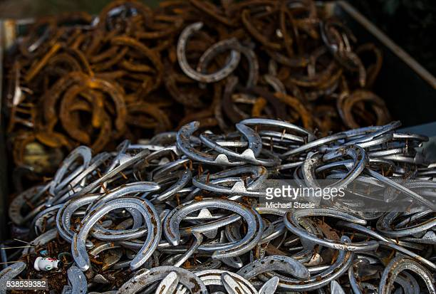 Used hooves in the recycling bin at Sandhill Racing Stables on February 18 2016 in Minehead England Sandhill Racing Stables set in 500 hundred acres...