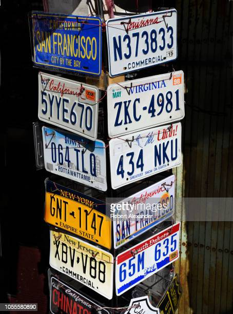SAN FRANCISCO CALIFORNIA SEPTEMBER 14 2018 Used outdated automobile license plates from various US states for sale in a shop in San Francisco...