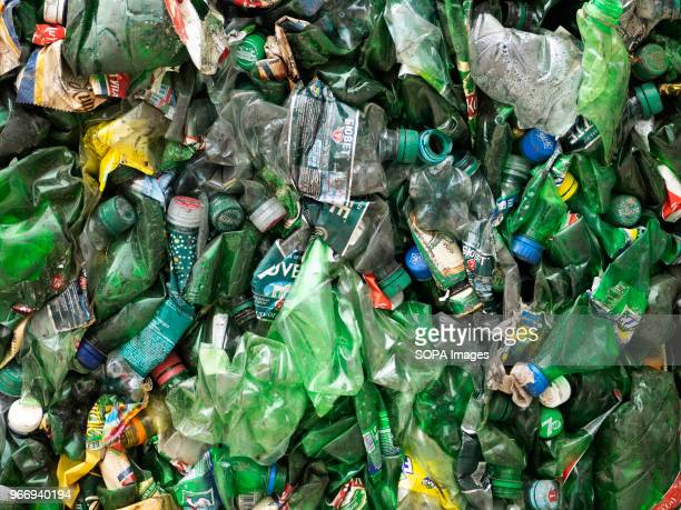 Used plastic bottles at the recycle plant In Ukraine enterprises for the processing of domestic waste are actively developing Several such factories...