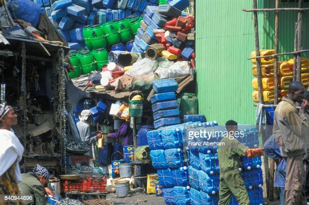 Used plastic can for sale, Merkato in Addis Ababa, the largest opern market in Afrika, Ethiopia