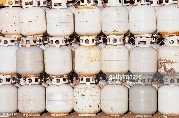 Used propane tanks piled up for recycling