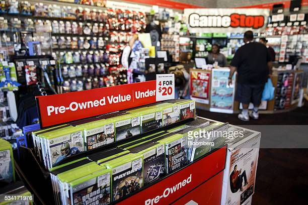 Used video games are displayed for sale at a GameStop Corp store in West Hollywood California US on Sunday May 22 2016 GameStop Corp is scheduled to...